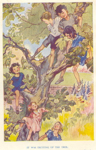 All but Margery daring to climb a tree