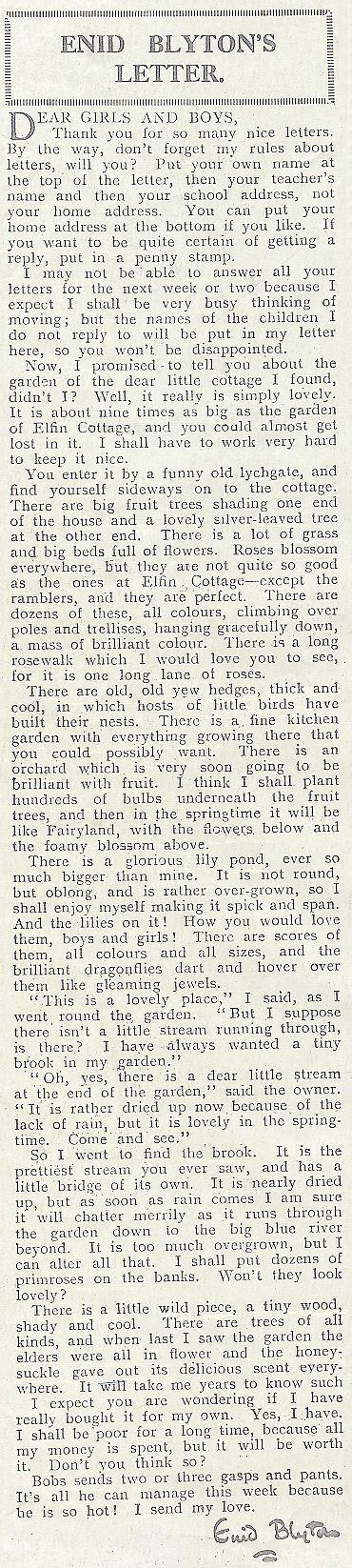 Une lettre d'Enid BLYTON Issue1361-19290724