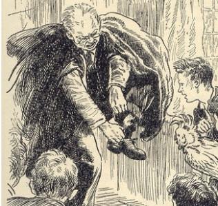 Philip's rat climbs Mr Roy's leg